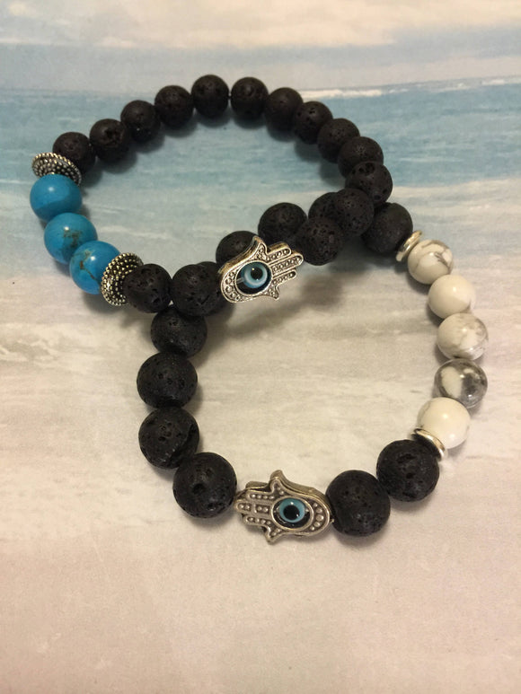 Hamsa and Evil Eye Lava Bracelets
