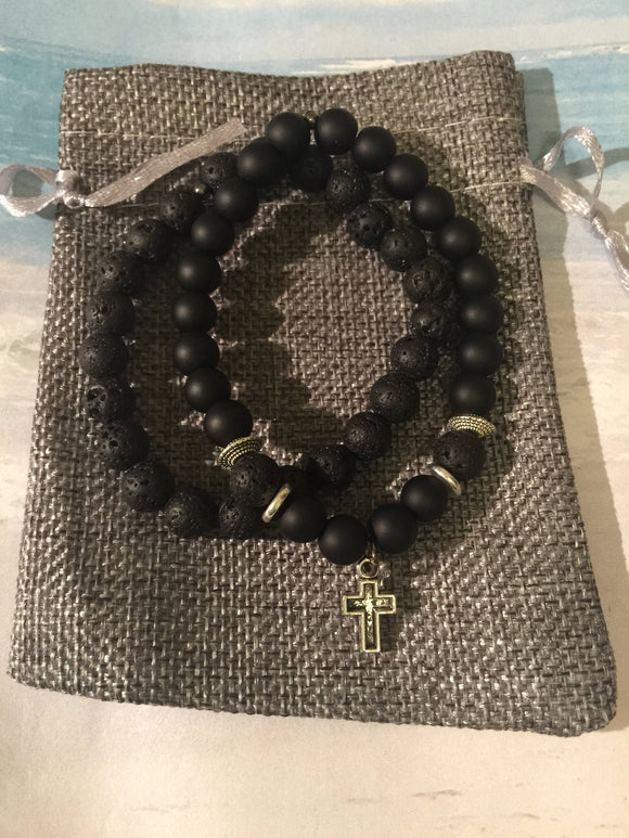 Mens Lava Bead, Onyx Bead and Cross Bracelet