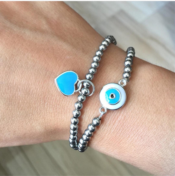 Turquoise Blue Love Heart Charm or Evil Eye Charm 7