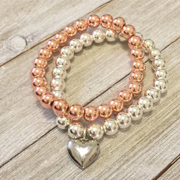 Karamella Hematite Rose Gold and Silver   Bracelets with stainless steel heart charm