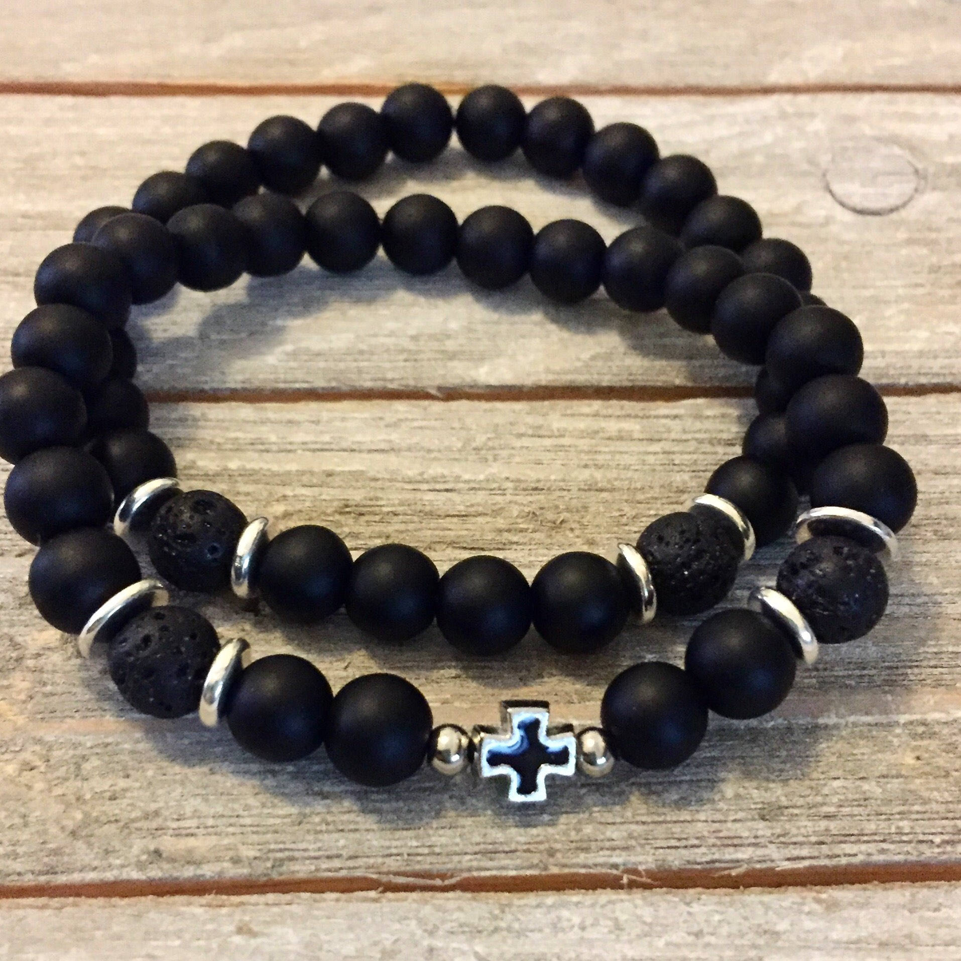Men Armageddon Trio Tiger/'s Eye /& Onyx and Black Lava Bracelets with Charms  Strength and Courage  Powerful bracelet