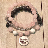 Stronger than you think or Enjoy the journey Charm on Lava, Rose Quartz and White Howlite Beads