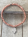 Pav̩ set cubic zirconia with Hamsa, Heart or Cross rose gold hematite Charm bracelet