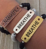 Choice of Breathe or Namaste Lava Bead Bracelet