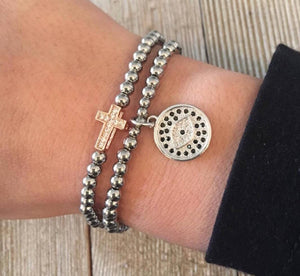 Evil Eye and Cross Stainless Steel Bracelets