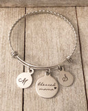Blessed Mama Stainless Steel Bangle with 2 initial charms