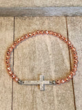 Rose gold Hematite Bracelet with Cross Connector