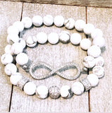 Infinity and Pav̩é spacers on White Howlite Beads