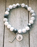 White Howlite Ladies Bracelet with Hockey Stick and Initial Charm