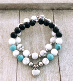 Howlite and Lava Heart Bracelets
