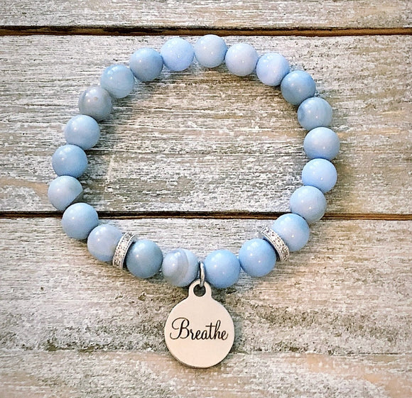 Angelite Bead Bracelet with Breathe Charm and Pav̩ Spacers