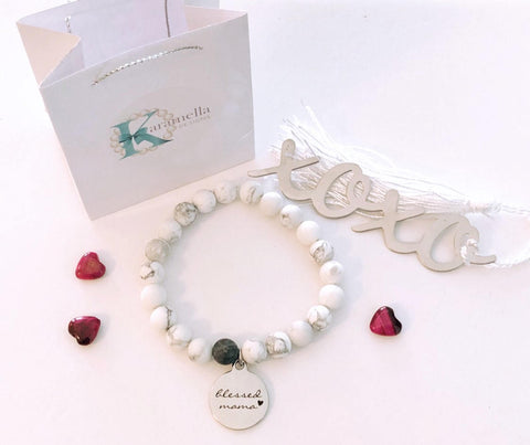 White Howlite Bead Bracelet with Blessed Mama Charm/ You got this