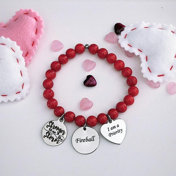 Stronger than the Storm - Firecracker - I am a priority on Red Bamboo Bracelet