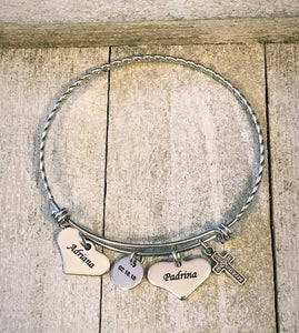 Personalized Bangle with 4 charms - Stainless Steel - Baptism - Communion -Confirmation