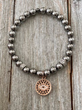 Ladies Hematite Hamsa or Evil Eye Bracelet