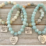 Choice of Teacher Charm on genuine Gemstone Bead Bracelets