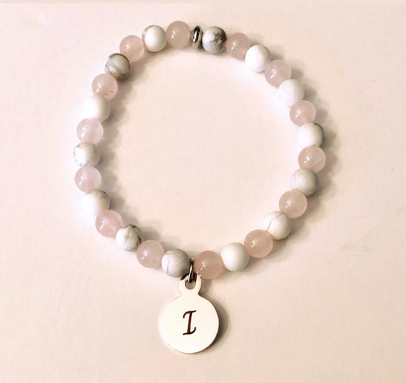 Initial Rose Quartz and White Howlite Bead Bracelets