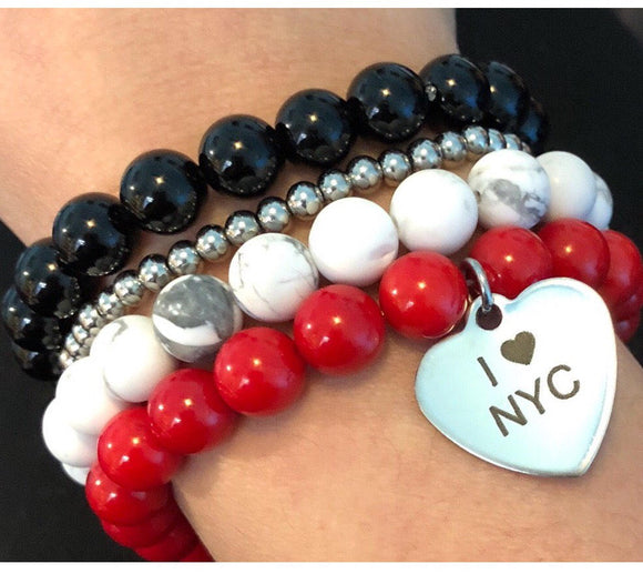 I Love NYC Charm Red Coral Bamboo Beads