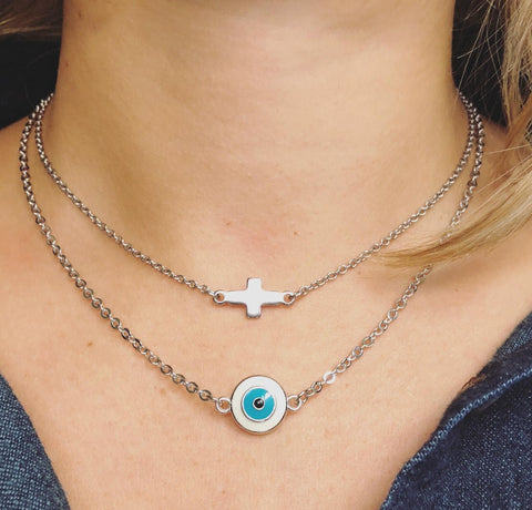Cross or Evil Eye Layering Necklaces