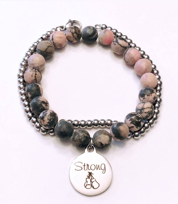 Strong Charm Bracelet on Matte Rhodonite Beads