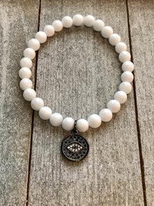White Jade Beads with Evil Eye Charm