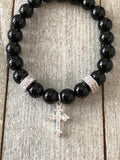 Onyx Bracelet with Cross charm and pav̩ spacers