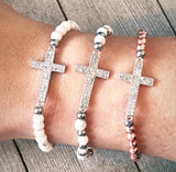 White Howlite and Rose Gold Hematite Sideway Cross Bracelet