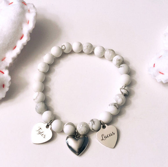 White Howlite Bead Bracelet with 4 personalized charms and stainless steel heart