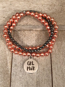 GRL PWR - girl power - rose gold hematite bead bracelet - choice of any bead -