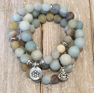Lotus Charm with Stainless Steel accents on Amazonite Bead Bracelet
