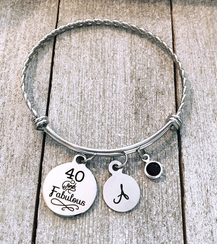 40 & Fabulous Initial and Birthstone Stainless Steel Bangle