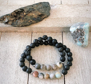 Daddy and Me Lava and Amazonite Bracelet Set of 2