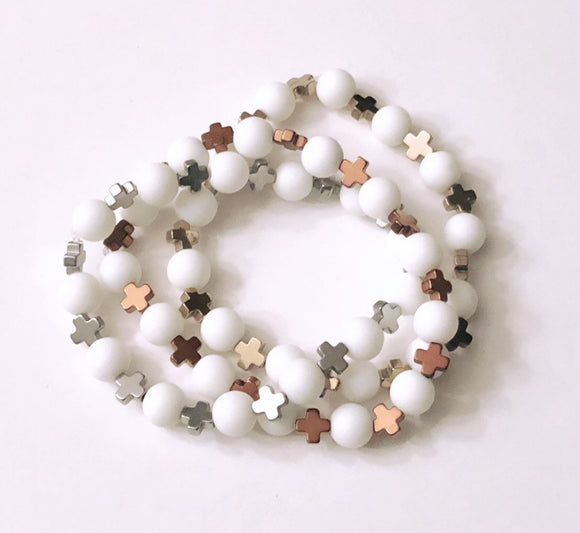 Matte White Jade 8mm Beads with Hematite Cross Spacers