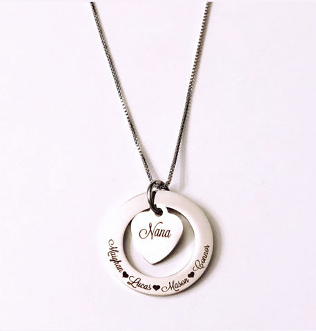 Personalized - Circle of life - Affirmation - Family Necklace with 2 charms
