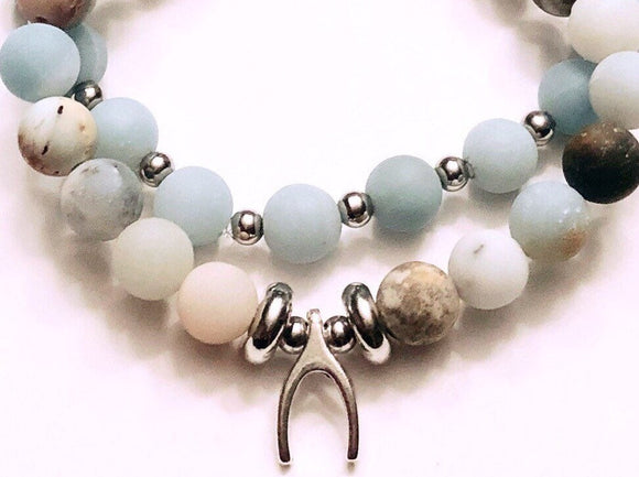 Wish charm on Amazonite 8mm Bead Bracelet