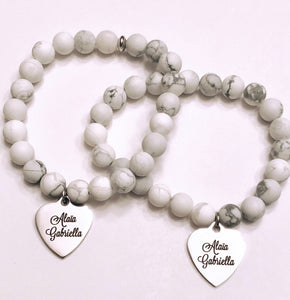 Personalized Names / Quote or image engraved silver stainless steel charm on your choice of Bead Bracelet or Necklace