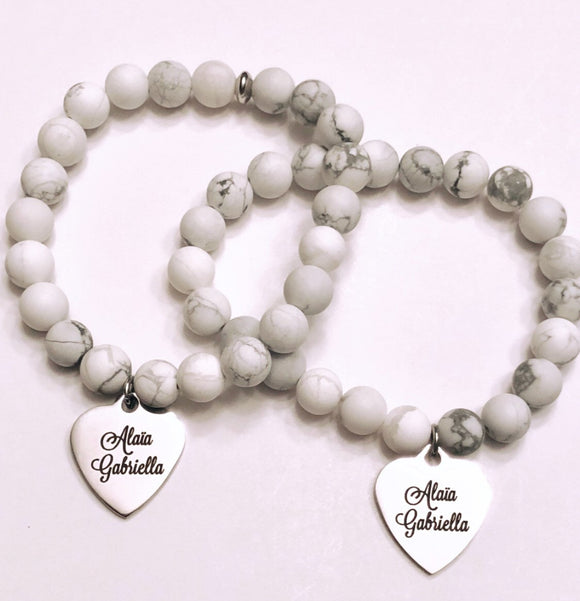 Personalized Names or Quotes on engraved silver stainless steel charm on your choice of Bead Bracelet or Necklace