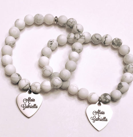 Personalized Names or Quotes on engraved silver stainless steel charm on your choice of Bead Bracelet