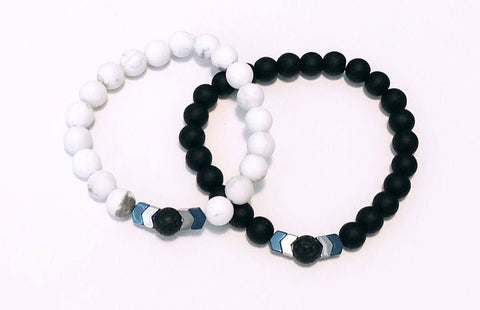 His and Hers Lava Bracelets - Lava - White Howlite -Black Matte Onyx -Hematite