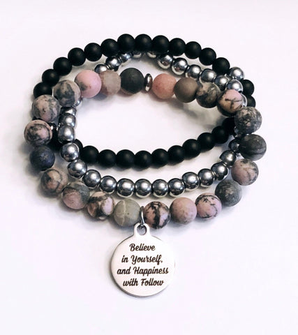 Believe in yourself and happiness will follow stack of 3 bracelets
