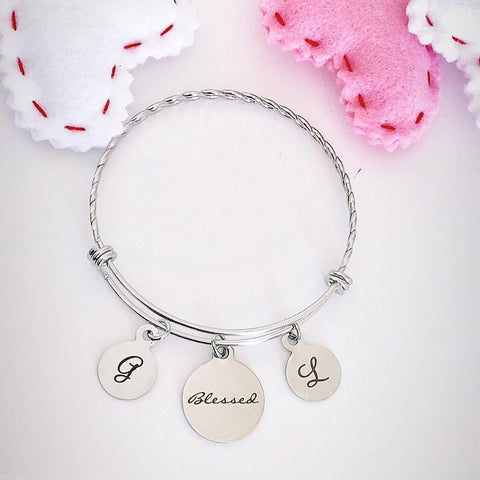 Blessed charm on Stainless Steel Bangle with Initials