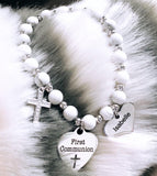 6mm White Howlite Beaded Communion Charm, cross and personalized name charm