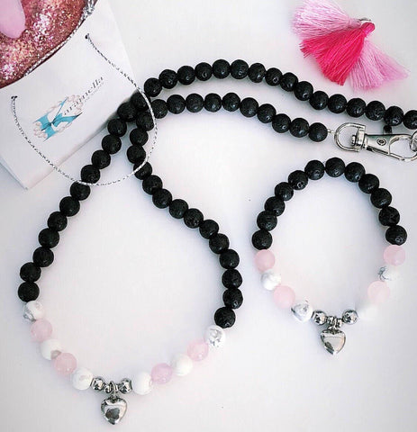 Puppy & Me Rose Quartz - Lava -White Howlite Choker and Bracelet Set
