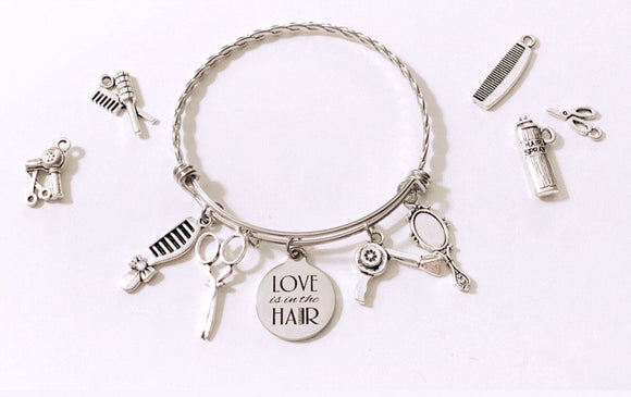 Love is in the Hair Stainless Steel Bangle includes 4 charms of choice