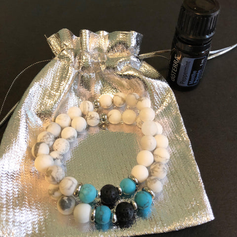 Lava and Howlite Bead Bracelet