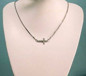 Sideway Cross Necklace on Stainless Steel chain