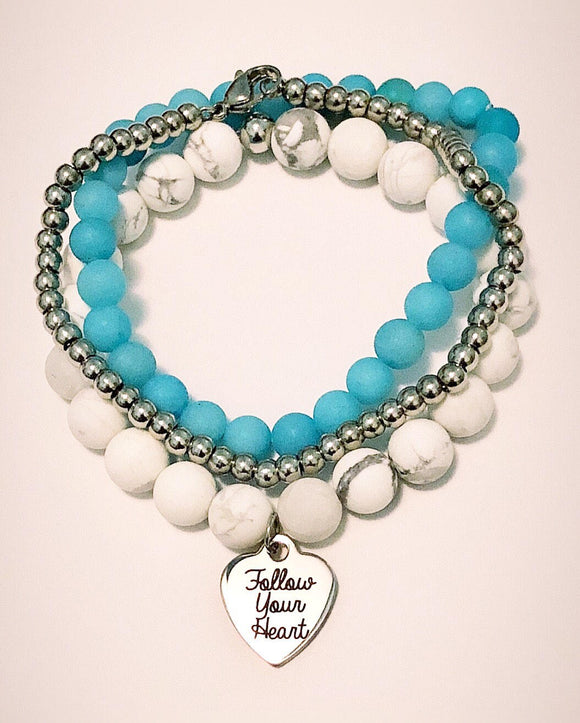 White Howlite 8mm Bead Bracelet with Follow your Heart Charm