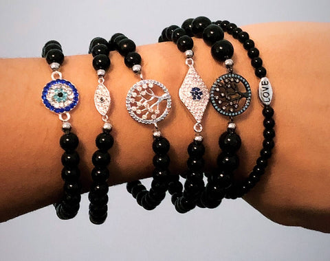 Black Onyx Bead Bracelet your choice of Charm Evil Eye