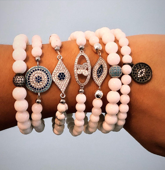 Evil Eye on White Howlite and White Jade Bead Bracelets