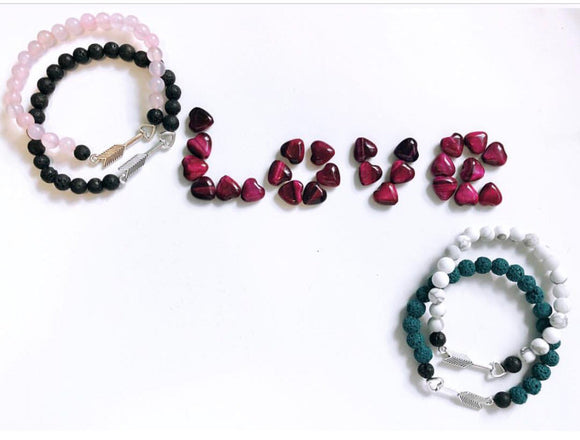 Arrow and Lava Bracelets choice of Rose Quartz, White Jade, Black Onyx, Teal Lava, White Howlite